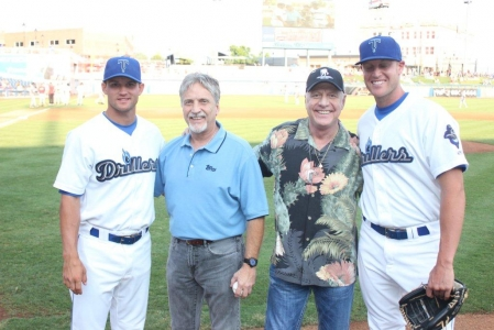 L-R: Warren Schaeffer (3B), Danny Mantle, David Mantle, Nick Schmidt (P).