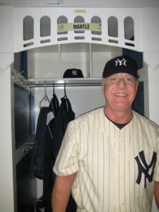 David Mantle in front of his locker prior to the ceremony on the last game at Yankee Stadium