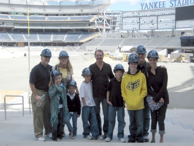 Mantle and Martin families at the New Yankee Stadium under construction.  Adults (left to right) are Danny Mantle, Kay Mantle, Billy Martin Jr., David Mantle and Billy's wife (Misty)